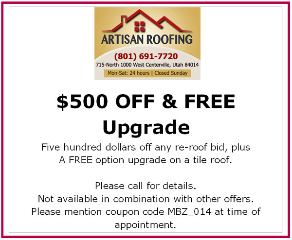 $500 OFF & FREE Upgrade. Five hundred dollars off any re-roof bid, plus A FREE option upgrade on a tile roof.